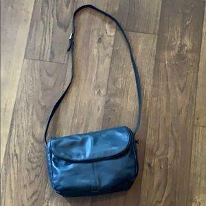 Handbags - Vintage navy genuine leather Crossbody Bag